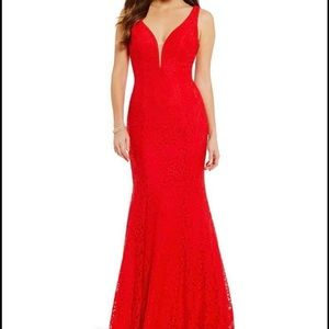 Illusion Beaded Back Red Lace Prom Dress